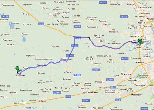 Схема проезда по Новорижскому